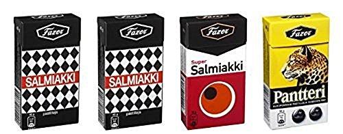 4 Boxes X 38g of Fazer Super Salmiakki Mix ((2) salmiakki - (1) super salmiakki - (1) pantteri) Original Finnish Salty Licorice Liquorice Salmiac Pastilles Lozenges Dragees Drops Sweets Candy
