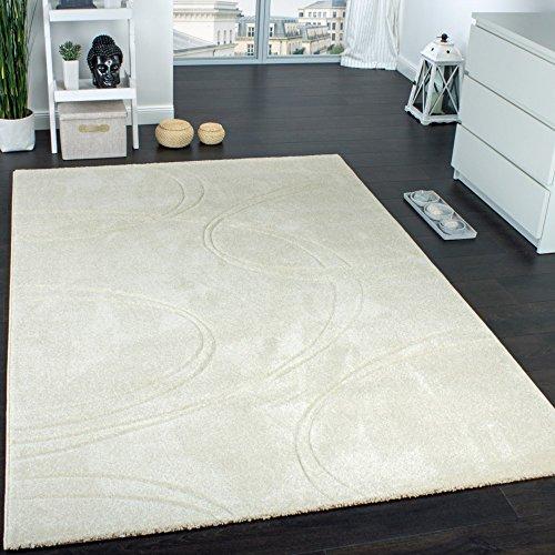 Tapis Unicolore Tapis Design à Contours Fait Main Crème Ivoire, Dimension:160x230 cm