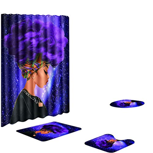 Honestyivan Bathroom African Girl Print Non-Slip Toilet Lid Cover Pedestal Rug Bath Mat Shower Curtain Set Home Decor Bathroom Essentials 4PCS