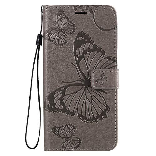 Handyhülle für Huawei Enjoy 10E Hülle Leder Schutzhülle Brieftasche mit Kartenfach Magnetisch Stoßfest Handyhülle Case für Huawei Enjoy 10E - XIKAT040805 Grau