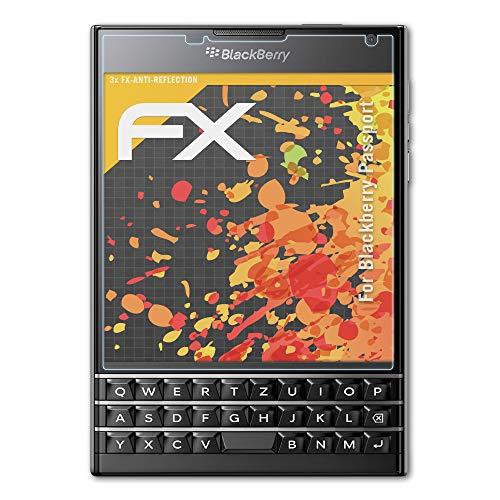 atFolix Panzerfolie kompatibel mit BlackBerry Passport Schutzfolie, entspiegelnde & stoßdämpfende FX Folie (3X)