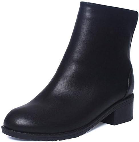 ZHRUI Bottines pour Femmes en Fourrure d'hiver à à Talon épais Chaussures à Bout Rond (Couleuré   noir PU, Taille   4 UK)  le style classique