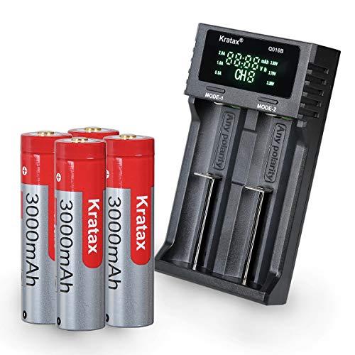 充電池 バッテリー 3.7V 3000mAh 電池 4本 18650充電器 充電式電池 大容量 保護回路あり 懐中電灯 ヘッドランプ等に適用 電池ケース付き 充電器セット (電池 4本+充電器)