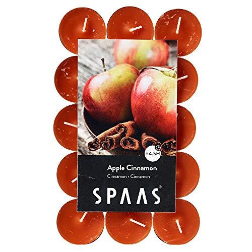 Spaas 30 Scented Tealights in Flatpack, ± 4.5 Hours, Apple Cinnamon