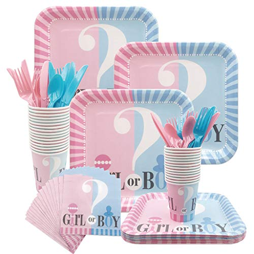 Amycute 112 Pcs Gender Reveal Party Supplies for 16 Guests, Baby Shower Plates Cups Napkins Boy or Girl Party Tableware Set