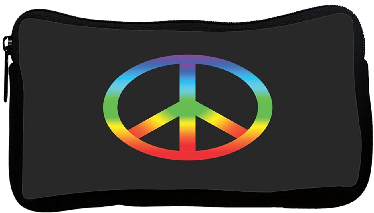 Rikki Knight Rainbow Peace Sign on Black Design Neoprene Pencil Case (pc1511)