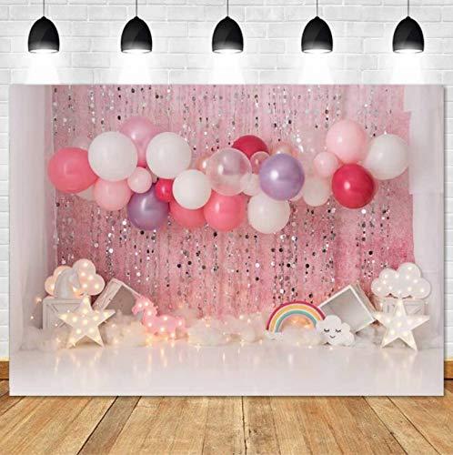 Fondos de fotografía de cumpleaños Baby Shower Cake Smash Photo Background Niños Recién Nacido Pink Interiors Studio Photocalls A19 7x5ft / 2.1x1.5m