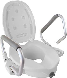 Mobiclinic, Elevador WC, Con tapa, Ayuda de baño para ancianos y minusválidos, Reposabrazos abatibles, ergonómico, ligero, blanco