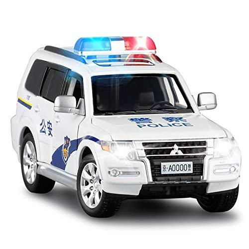 QEEN 1/32 Pajero V97 SUV Modelo de Coches de Juguete de aleación Die Cast luz de dirección de Sonido de Choque Aabsorber vehículo Todo Terreno Juguetes (Color : Police)