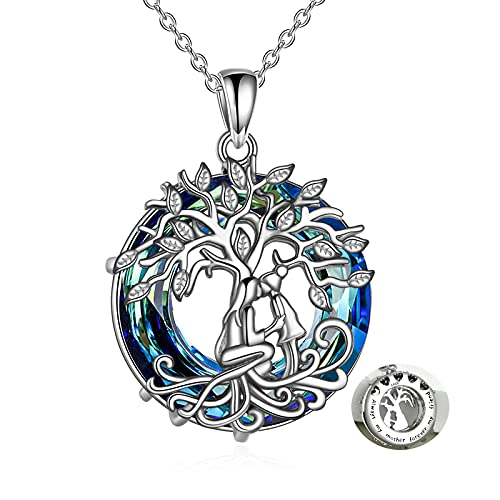 POPLYKE Celtic Tree of Life Necklace Jewelry for Mom from Daughter Sterling Silver Mother Child Family Tree Necklaces with Blue Circle Crystal Gifts for Mom Women Daughter Birthday