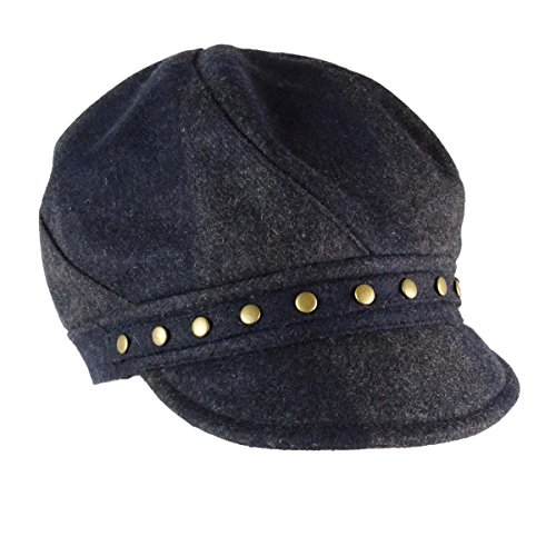 August Hats Women's Checked Mod Cap One Size Blue