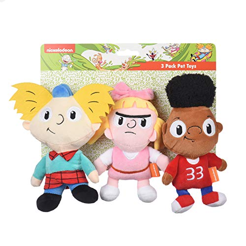 Nickelodeon Hey Arnold 3 Piece Arnold, Helga, Gerald Figure Plush Dog Toys | 6 Inch Soft Fabric Small Dog Toys - Hey Arnold Character Dog Toys for All Dogs from 90s Nickelodeon TV Show