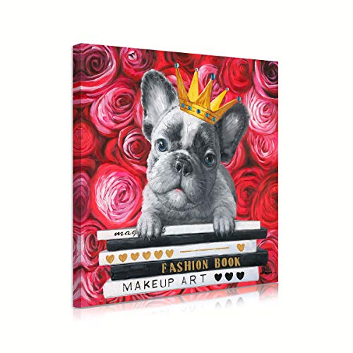 Cool Red Rose French Bulldog Wall Art Canvas Prints Yellow Golden Crown Posters Pet Dog Wall Decor Puppy and Book for Reading Room Kids Cabin Nursery Home Decoration Stretched 12' x 12'