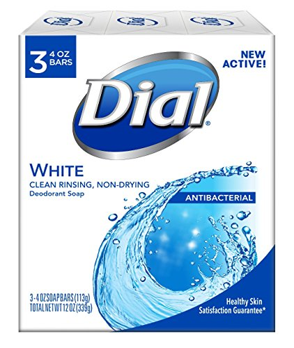 Dial Antibacterial Deodorant Soap White 4 Ounce Pack of 3  Bars
