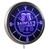 ncp-tm-b Home Bar Personalized Your Name Bar Pub Kitchen Sign Neon LED Wall Clock Blue