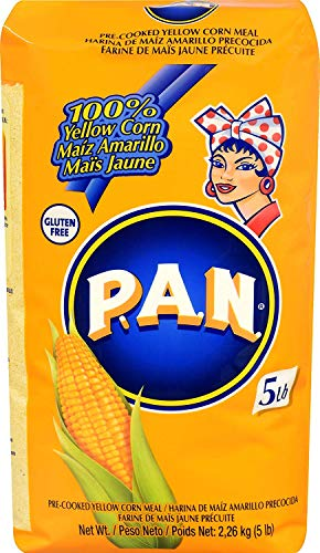P.A.N. Harina PAN Amarilla Yellow Corn Meal Pre-cooked for Arepas, 2.27 kgs (5 lb) Grande