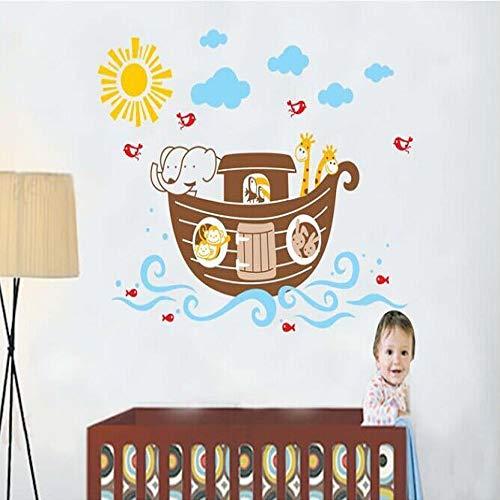 Barco pirata de dibujos animados animal DIY extraíble pegatinas de pared habitación infantil decoración familiar pegatinas de pared  vinilos decorativos  pegatinas de pared 60X90cm