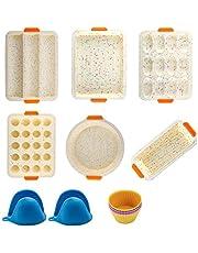 14 stks Siliconen Nonstick Bakvormen Mold Tools Set, Bakvormen Tins en Trays Sets, BPA Gratis, Food Grade voor Muffin Donuts Pizza Tiramisu Cake Pan Sheet Set (Beige, 14 stuks)