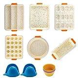 Set Stampo da Forno,14 set di strumenti antiaderenti per stampo in silicone per teglie da forno, Commestibile senza BPA per set di tortiera per torte al tiramisù per pizza e ciambelle al muffin