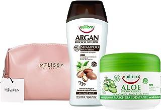 EQUILIBRA Kit : Argan Shampoo Protettivo - Aloe Maschera Idratante + Pochette