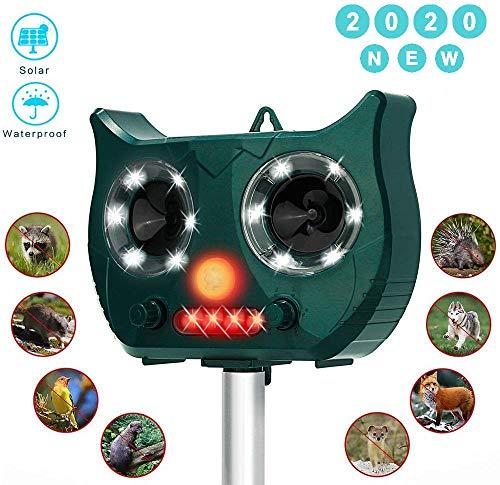 LAPENO Cat Deterrent,2000mAH Ultrasonic Animal Deterrent Katzenschreck Ultraschall Solar Wetterfest Utraschall Abwehr mit eingebauter Lithiumbatterie und Blitzlicht 5 Modus Einstellbar Tiervertreiber