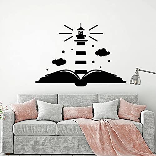 HGFDHG Libro Abierto Tatuajes de Pared Faro librería Sala de Lectura Biblioteca niños habitación Escuela decoración Interior Vinilo Adhesivo Ventana Mural