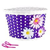 Farway Kid's Girl's Bike Bicycle Basket Bicycle Front Handlebar Basket Decoration with 3 Pretty Flowers (8.7 x 5.9 x 5.9 inch)