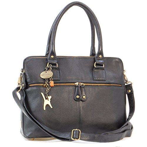 CATWALK COLLECTION - VICTORIA - Bolso de hombro estilo shopper - Cuero vintage - Negro