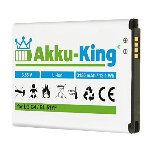 Akku-King Akku kompatibel mit LG BL-51YF - Li-Ion 3150mAh - für G4, G4 Dual SIM, G4 Dual LTE