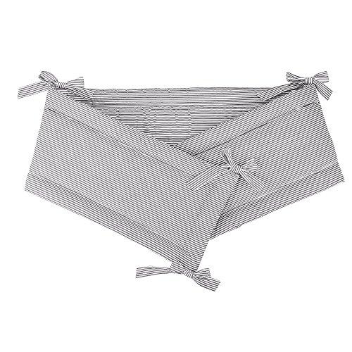 Sugarapple Nestchen, Bettnestchen für Babybett 70x140 cm, Bettumrandung, Kopfschutz für Gitterbetten aus atmungsaktiver Baumwolle, Öko Tex Standard, Weiß mit grauen Streifen