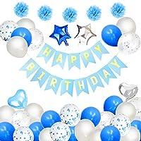 誕生日風船 飾り付け バルーン HAPPY BIRTHDAY 誕生日パーティー バースデーバルーン 飾り 青い