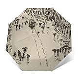 Parapluie Pliant, Parapluie Pliable Automatique Ouverture Et Fermeture Résistant à Tempête Compact Léger Parapluie De Voyage pour Homme Et Femme Istanbul 833