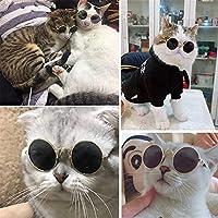 犬用眼鏡 猫犬サングラステディ面白い帽子ペットアクセサリーキャットメガネ (Color : WHITE)