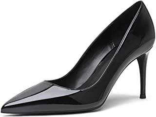YODEKS Women's Pointed Toe Stilettos High Heels Comfort Slip On Patent Leather Black Lining Rubber Sole Pumps for Wedding Office Dress