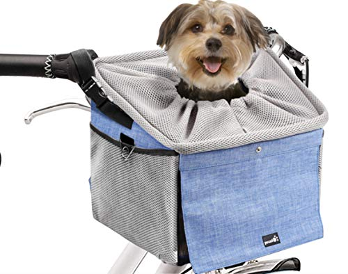 Pecute Dog Bike Basket Pet Carrier Bicycle, Dog Booster Car Seat Pet Booster Seat with 2 Big Side Pockets, Comfy & Padded Shoulder Strap, Portable Breathable Pet Carrier, Travel with Your Pet