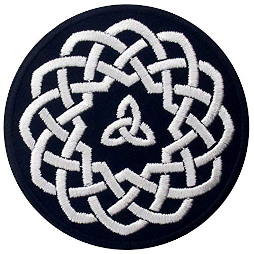 Celtic Knot Circle Patch Embroidered Applique Iron On Sew On Emblem, White & Black