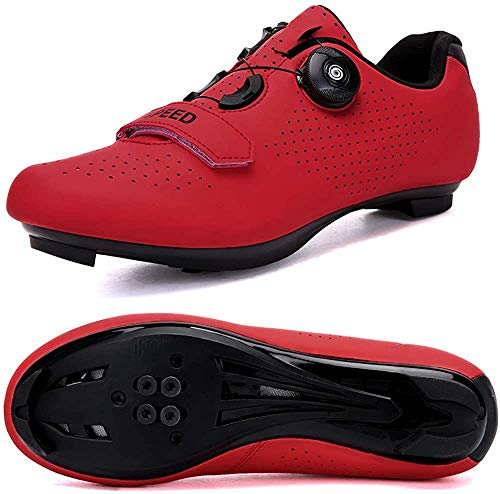 JINFAN Fahrradschuhe Damen Rennrad Inklusive Stollen Kompatibel mit SPD/MTB für Outdoor-Fahrradschuhe Mountainbike-Schuh,Red-11.5UK=46EU(280mm)