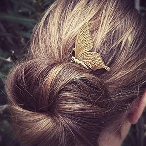 Runmi 2 Stück Braut-Haarkämme mit Gold-Kopfschmuck, Schmetterling, Braut-Haarteil, Hochzeits-Haarschmuck für Frauen und Mädchen