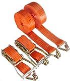 Braun 2000-2-800+4030/VE2 - Cinghia 4000 daN, 2 pezzi, lunghezza 7.5m, larghezza 50mm, con dente di arresto e ganci a uncino, colore: Arancione