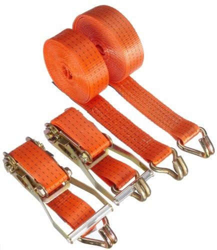 Braun Spanngurt 4000 daN, zweiteilig, für Profis, nach DIN EN 12195-2, Farbe orange, 8 m Länge, 50 mm Bandbreite, mit Ratsche und Spitzhaken, 2er Set.