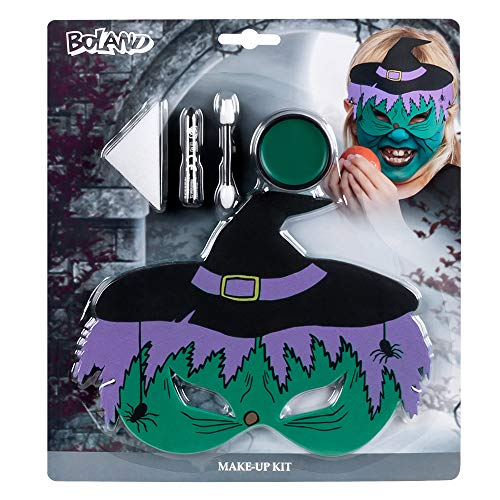 Boland-45079 Kit Petite sorcière (Masque pour Les Yeux en EVA, 1 Pinceau de Maquillage, 1 éponge et 1 applicateur), Enfants-Mixte, 10239331, Multicolore, Taille unique