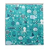 CPYang Duschvorhänge Octopus Hai Quallen Anker Wasserdicht Schimmelresistent Badevorhang Badezimmer Home Decor 168 x 182 cm mit 12 Haken