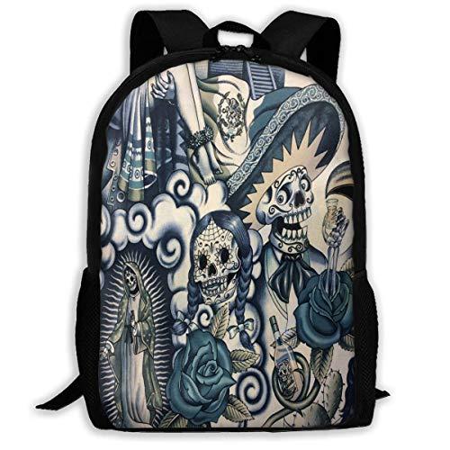 NA Mochila Frida Kahlo con cremallera para la escuela, mochila de viaje, bolsa de gimnasio, para hombre y mujer