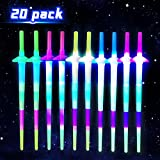Light Up LED Swords Expandable Laser Sabers Glow in Dark, Mini Glow Sticks, [20 Pack], 4-Section 5 Colors, Flashing Neon Party Favors - Batteries Included
