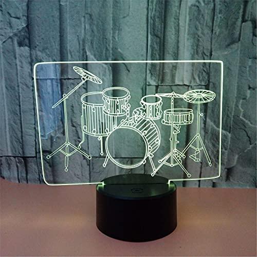 SLJZD luz de noche Patrón De Tambor Lámpara De Noche Visual 3D Sensor Táctil Para Decoración De Bodas Lámpara De Mesa Led De 7 Colores Regalo Creativo Para Niña Con Control Remoto