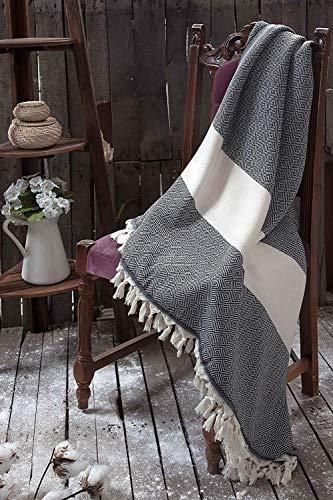 WSHFOR Überwurf Wohndecke 200x240cm, schwarz Weiss,100% Baumwolle, Tagesdecke Soft und wasserabsorbierend, ideal auch als Decke