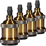 INNOCCY Solid Lamp Socket E26/ E27 Vintage Industrial Edison Pendant Ceramics Light Socket Antique Brass Color, Pack Of 4