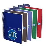 Oxford Office Essentials 100104869 - Cuaderno con espiral (A5, 100 hojas, 90 g, 10 unidades), colores variados