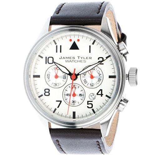 James Tyler Herren-Armbanduhr, Quarz Chronograph mit Lederarmband, JT706-3