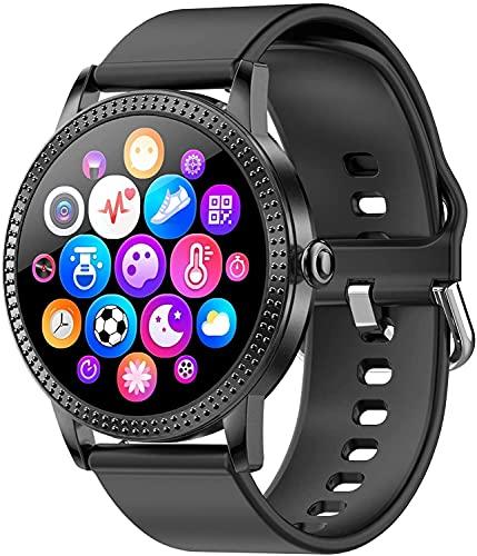 QHG Full Touch Smart Assistant Watch Tarifa cardíaca Presión Arterial Socio de Salud Fitness Tracker Podómetro Paso Sleep Monitor Sport Smart Watch para Mujeres Hombres (Color : BlackTPU)